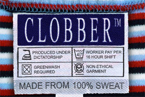 Clobber - the brand label made from 100% sweat