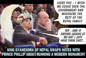 King of Nepal chats with Prince Phillip