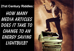 How many media articles does it take to change to an energy saving lightbulb?