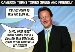 David Cameron perfects his Blairite mannerisms and turns 'green'...