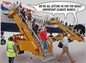 Jetting in for the anti-climate change march.