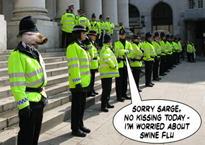Police make attempts to prevent the spread of Swine Flu