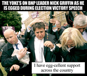 Nick Griffin gets egged at victory speech