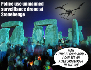 Police use unmanned surveillance drone at Stonehenge during the summer solstice celebrations.