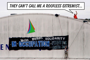 Rooftop occupation of Vestas factory, Isle of Wight