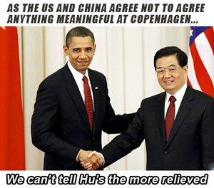 The US and China agree to not agree on anything before the Copenhagen climate talks.